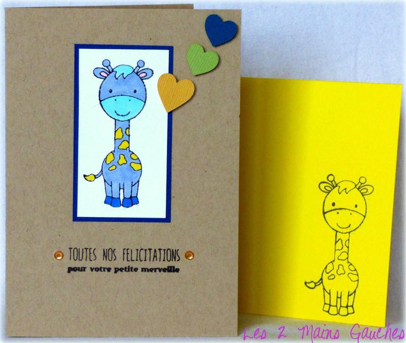 carte de naissance garçon avec girafe bleue