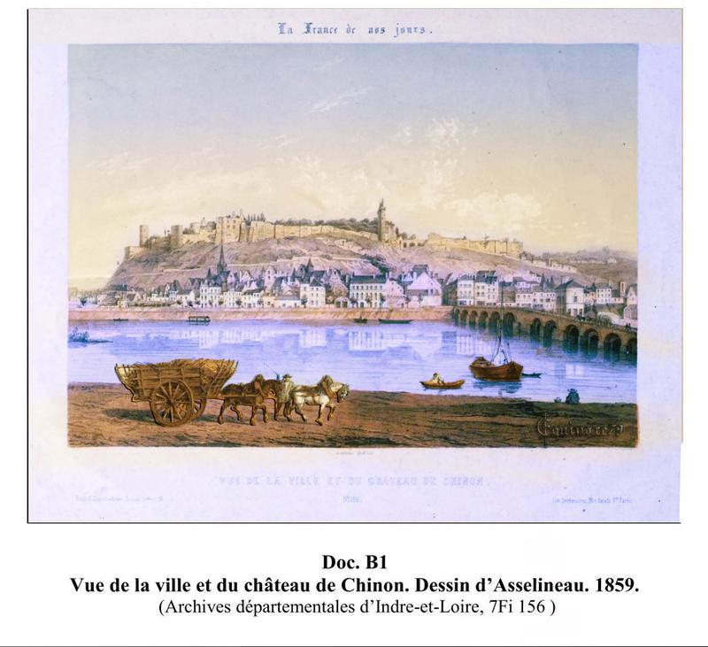 vue de la ville et du château de Chinon 1859