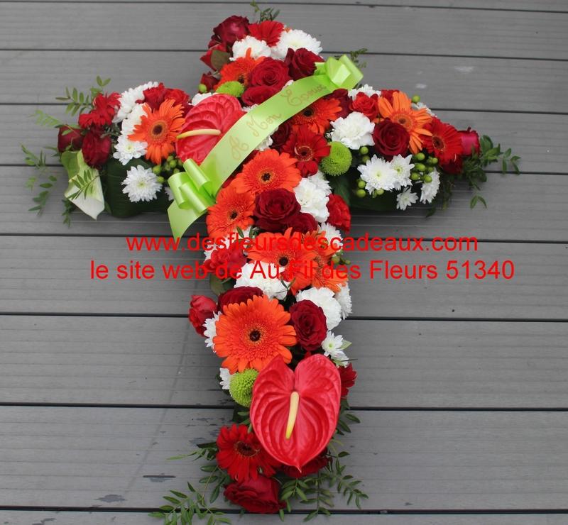 croix de fleurs rouge et orange deuil (1)