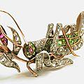 Antique diamond, demantoid garnet & ruby grasshopper brooch, circa 1880