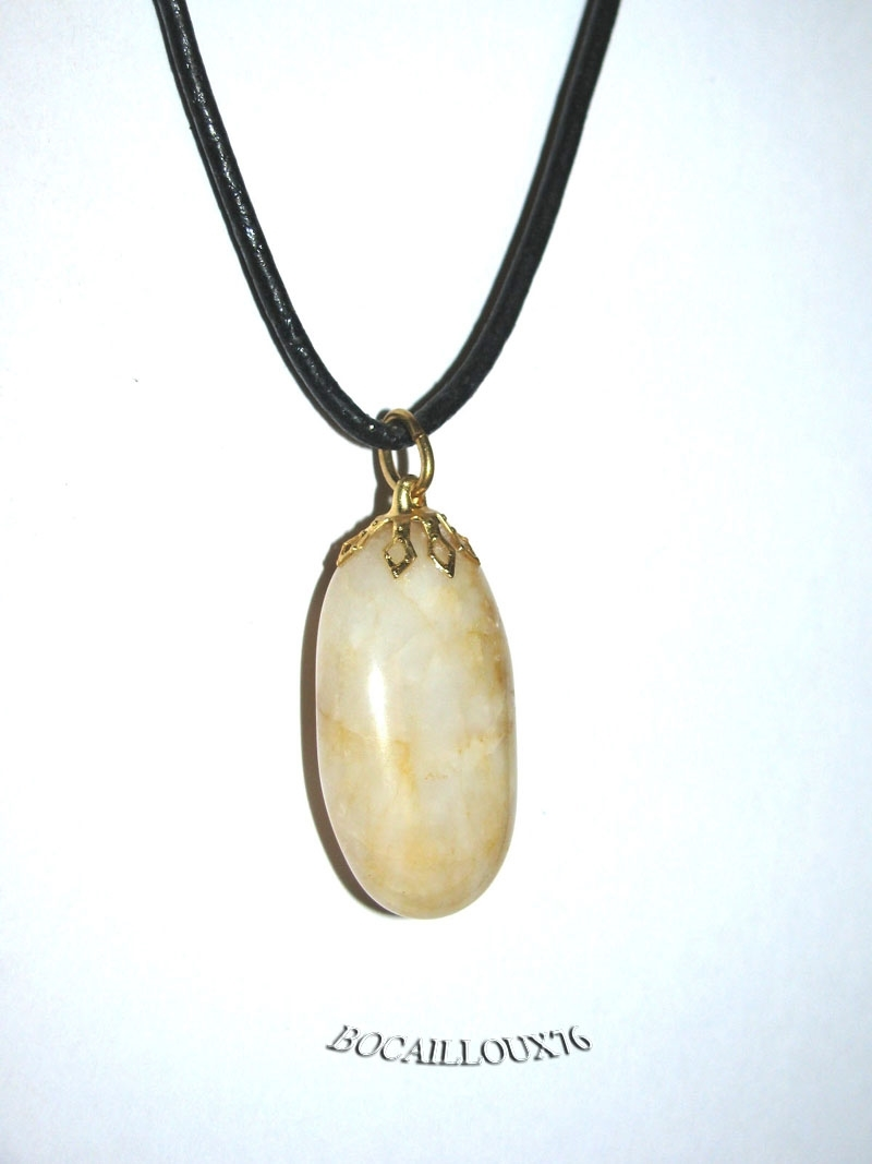 PENDENTIF Goutte QUARTZ Ocre 3 - Attache DOREE