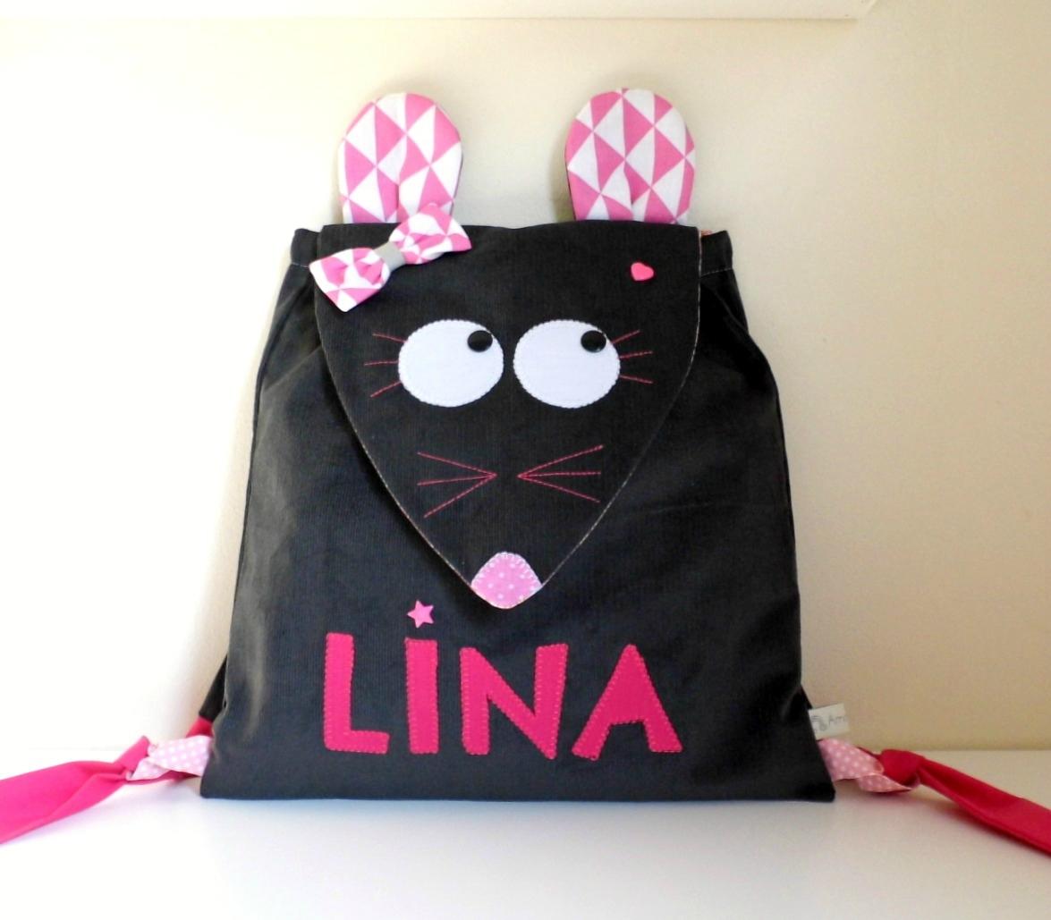 Sac maternelle souris personnalisé Lina