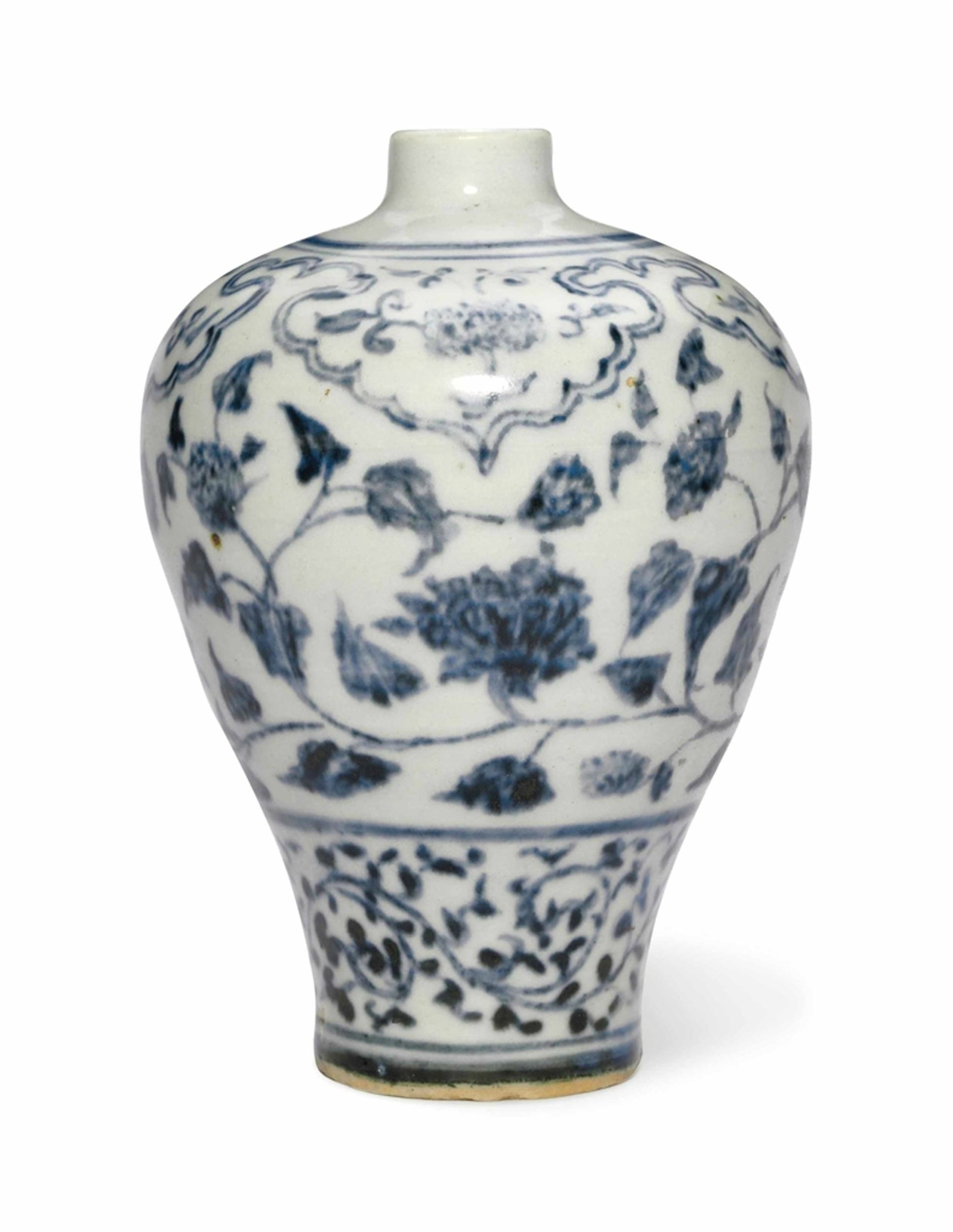 A small blue and white vase, meiping, Ming Dynasty, 15th-16th century