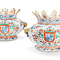 A pair of chinese verte-imari armorial wine coolers for the portuguese market, kangxi period, circa 1720