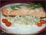 Pavé de saumon et sa sauce à l'aneth sur compotée de fenouil