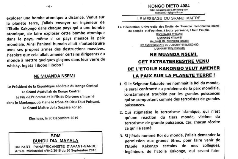NE MUANDA NSEMI CET EXTRATERRESTRE DE L'ETOILE KAKONGO VEUT AMENER LA PAIX SUR LA PLANETE TERRE a