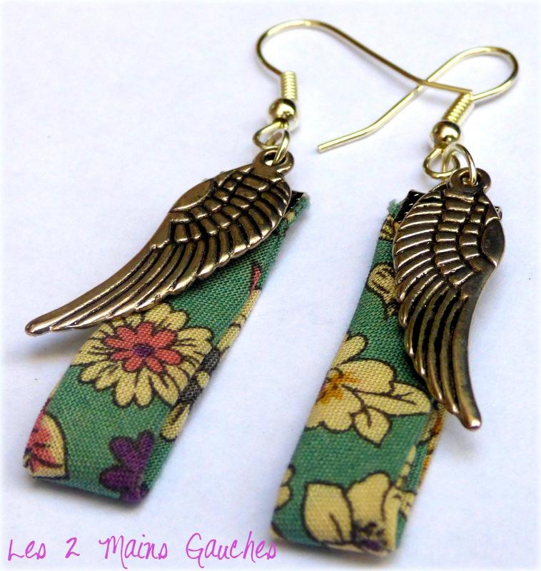 BO en biais liberty vert et ailes d'ange