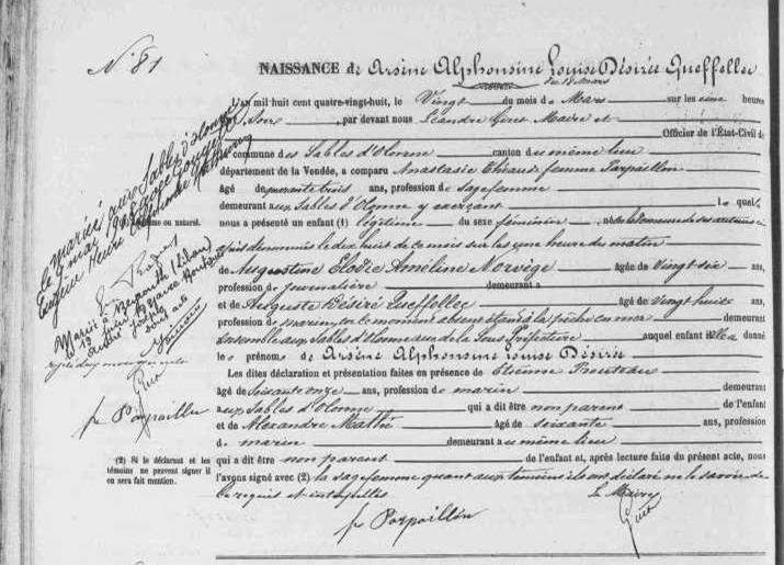 1888 le 20 mars Sables d'Olonne naissance Arsène Alphonsine Queffellec_2