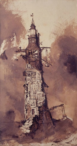 Phare, aquarelle de Victor Hugo