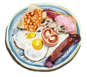 full-english-breakfast-illustration-watercolour-food