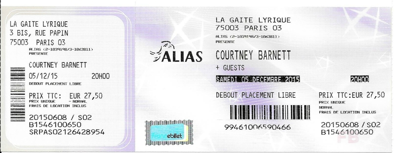 2015 12 05 Courtney Barnett Gaîté Lyrique Billet