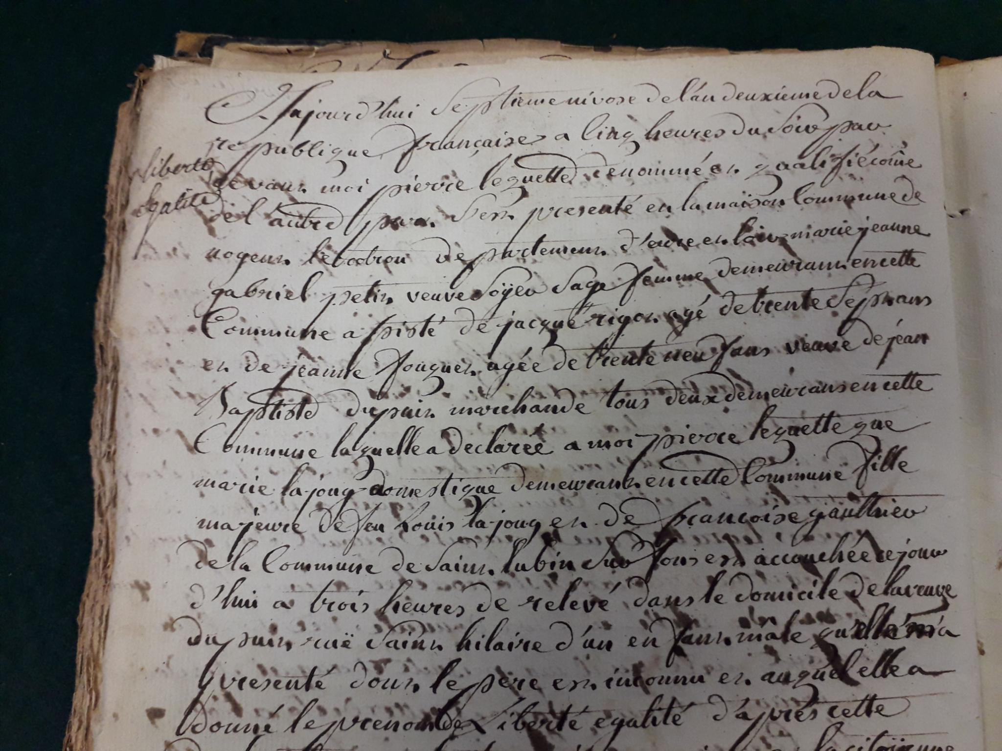27 décembre 1793 : Liberté Egalité à Nogent le Rotrou.