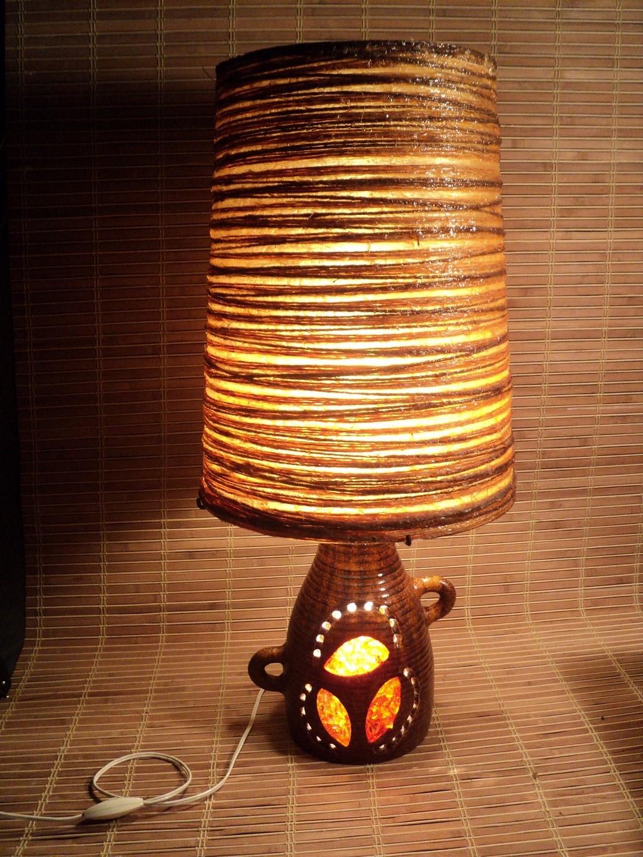 Grande Lampe Céramique Accolay 1960 Vintage Giarrusso Pelletier