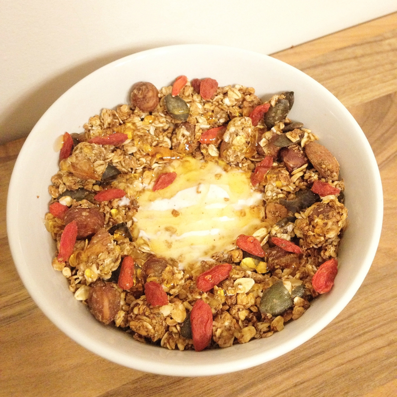 granola bananes, fruits secs et graines