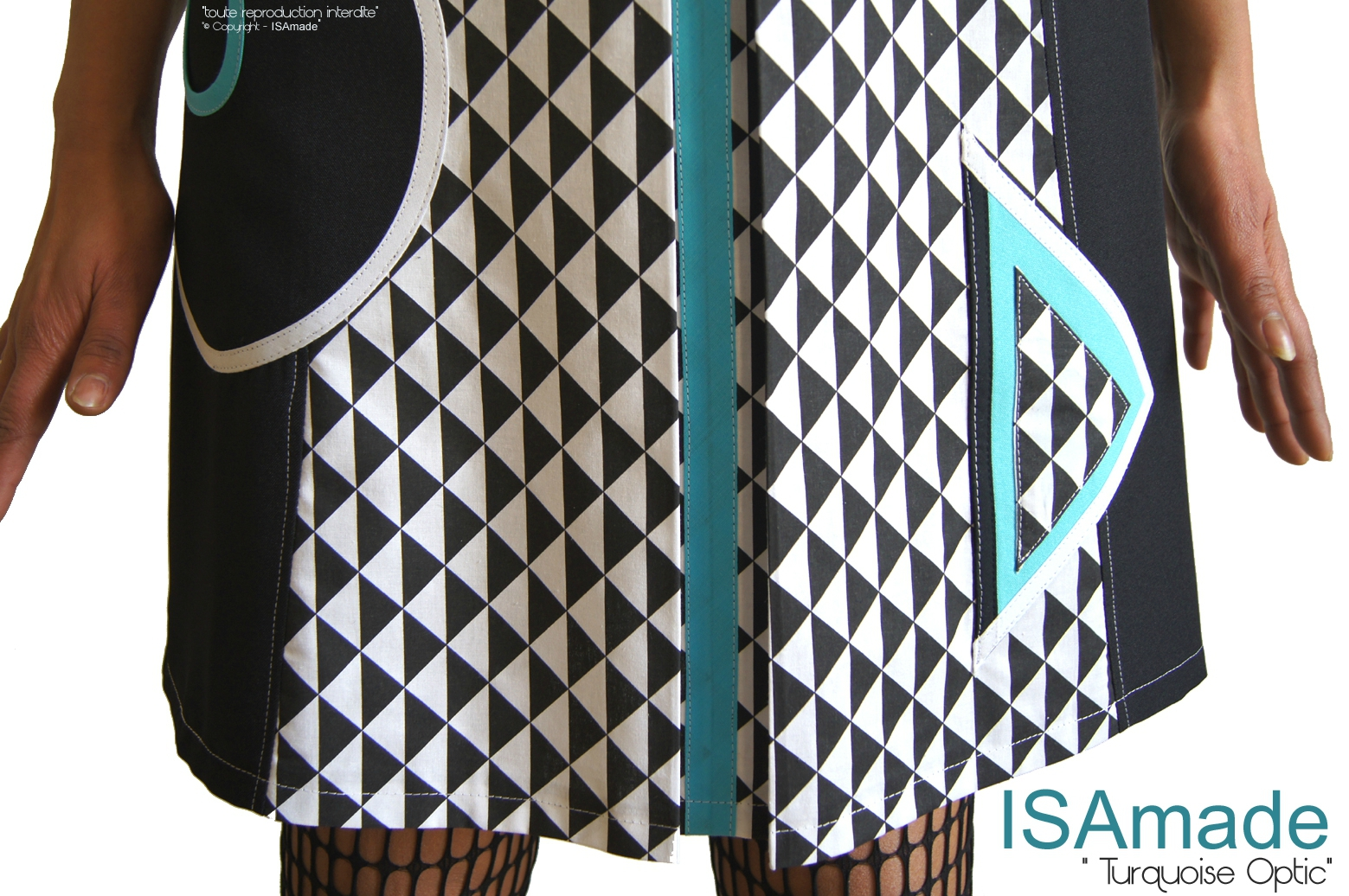 MOD 394D -robe-bicolore-noir-blanc-graphique-turquoise-createur-made-in-france-printemps-2016