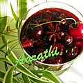 Cherries in spiced red wine