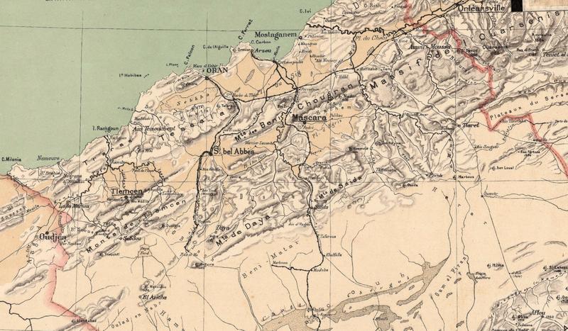 Algérie, carte Niox, 1884, Oranie