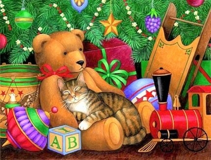 stephanie stouffer-christmas-cats-winter-art