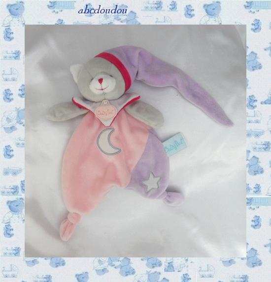 Doudou Peluche Plat Chat Gris Rose Et Mauve Lune Etoile Luminescent Babynat