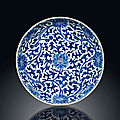A blue and white 'lotus' dish, kangxi six-character mark within a double-circle and of the period (1662-1722)