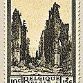 Deuxième série d'Orval, émise au profit du Fonds de reconstruction de l'abbaye Ruines de l'ancienne abbaye 10c + 15c