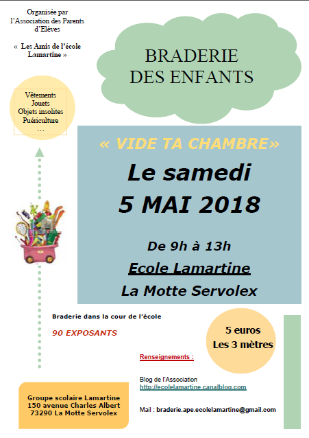 ape lamartine - braderie enfants - 5 mai 2018