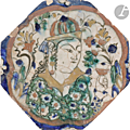 Three safavid kubatchi figural pottery tiles, iran, 17th century