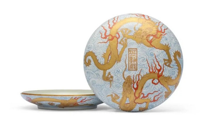 A Gilt And Iron-Red Decorated Blue And White Seal Paste Box And Cover Maoqin Dian Mark In Gilt And Iron Red, Jiaqing Six-Character Seal Mark In Underglaze Blue And Of The Period (1796-1820)