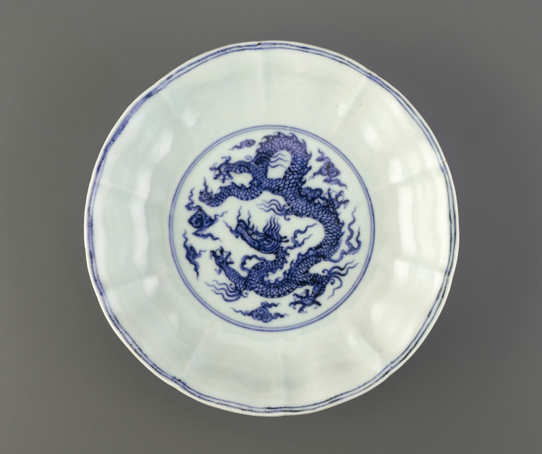 'Dragon' dish with foliate flaring rim, Xuande mark and period (1426 – 1436), Ming Dynasty (1368 – 1644