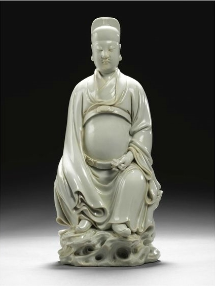 A Blanc-de-Chine figure of Wen Chang, 17th century