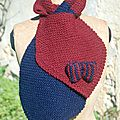 echarpe cravate tricot bordeaux/bleu
