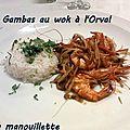 Gambas au wok à l'orval