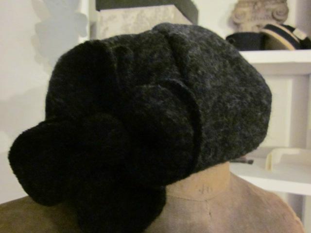 Chapeau AGATHE en laine bouillie gris anthracite chiné (3)