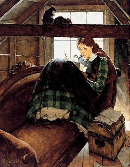 Jo Seated on the Old Sofa by Norman Rockwell, 1937
