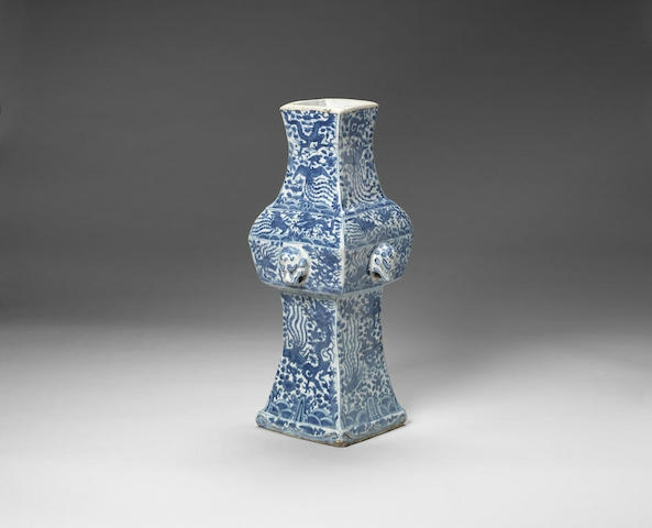 A blue and white altar vase, fang zun, Wanli