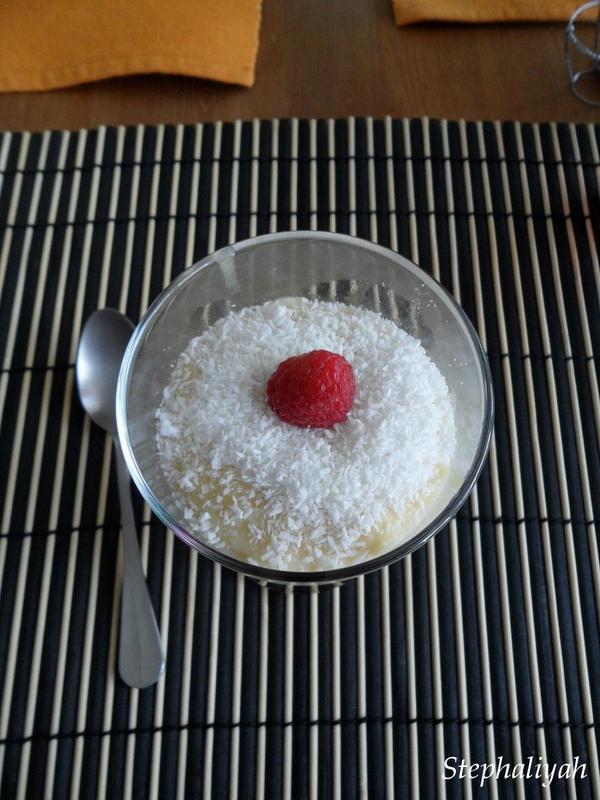 Crème noix de coco et framboises -- 3