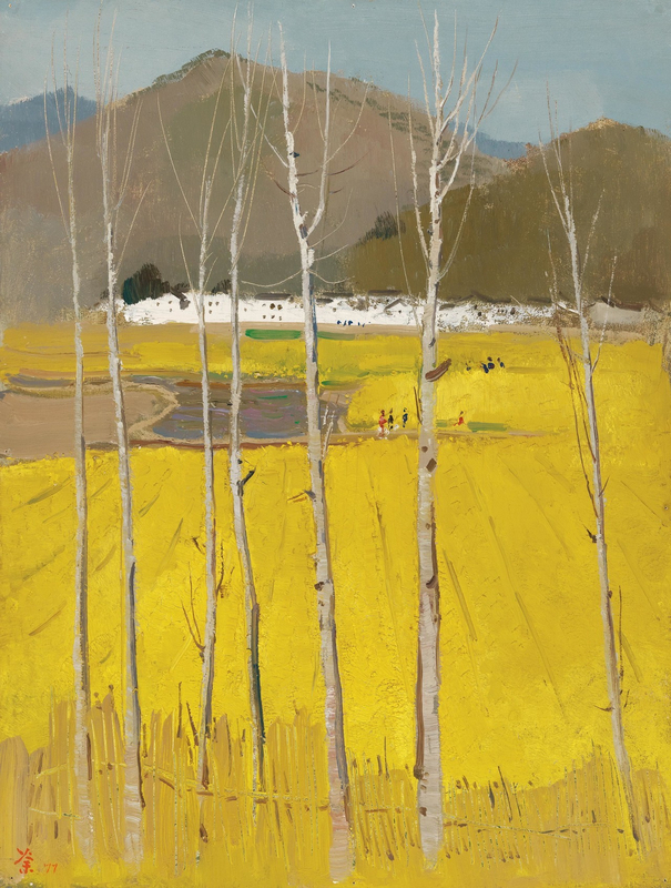 Wu Guanzhong Golden Field 1977 Oil on board1280