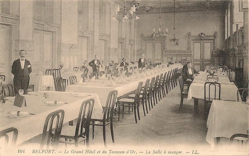 Belfort CPA Rue Reiset n°1 Grand Hôtel Tonneau d'Or Salle à manger 3s