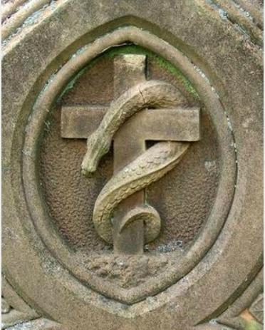 serpent d'airain, mur d'église