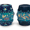 Two Fahua barrel-form garden stools, Ming dynasty (1368-1644)
