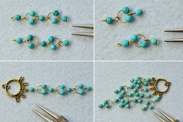 PandaHall Tutorial on How to Make Vintage Style Turquoise Bead Chandelier Earrings 4