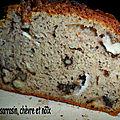 Cake à la farine de sarrasin, chèvre et noix