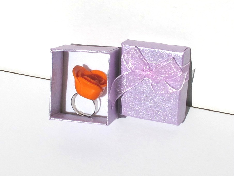 bague fimo rose orange boite