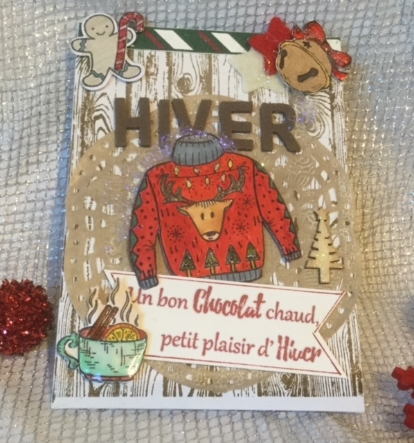 """Carte """"HIVER"""" et joli pull tricoté"""