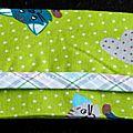Etui à mouchoirs vert imprimé chats, bordure écossais pastel