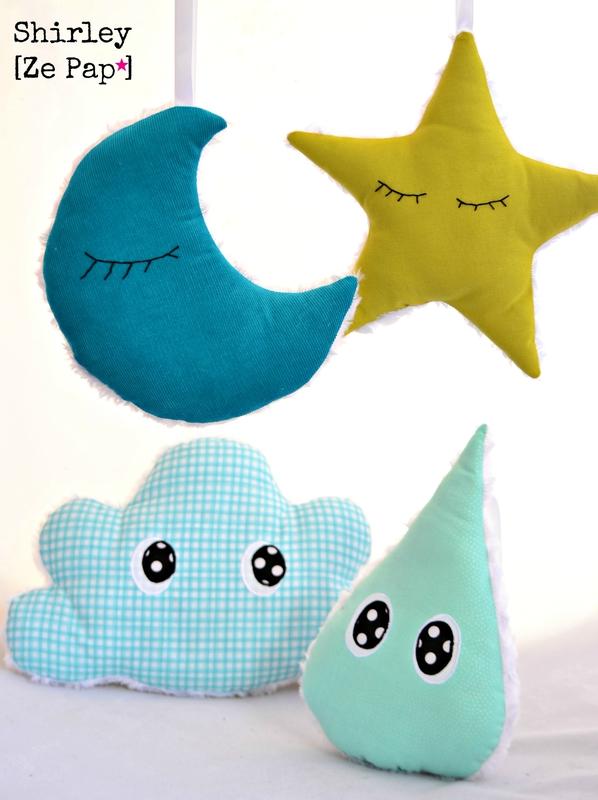 decoration chambre d'enfant nuage goutte etoile lune yeux petique et amusant