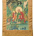 An important and finely painted thangka of luohan kanakavatsa, ming dynasty, 15-16th century