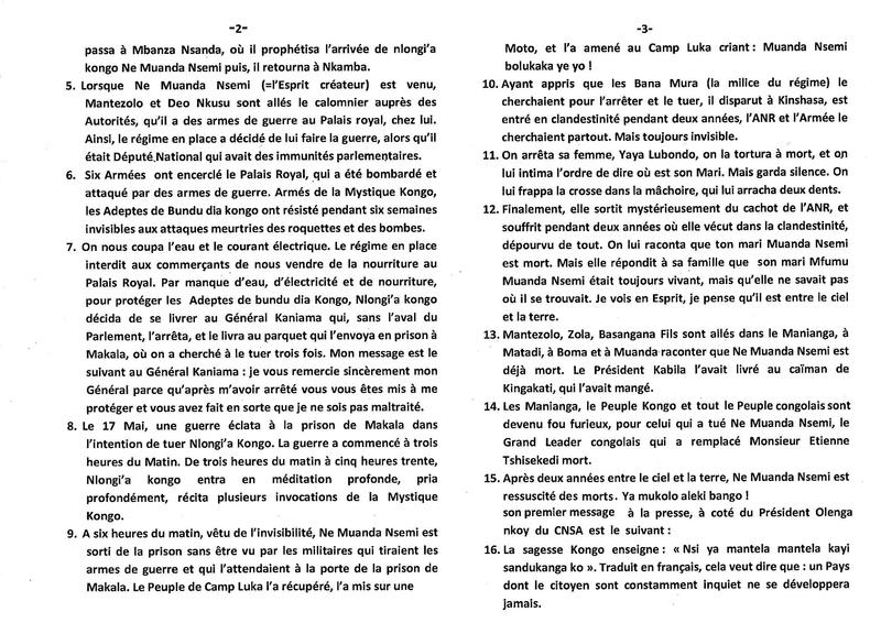 LE 17 MAI LA JOURNEE DE LA SORTIE DE NLONGI A KONGO DE LA PRISON DE MAKALA b