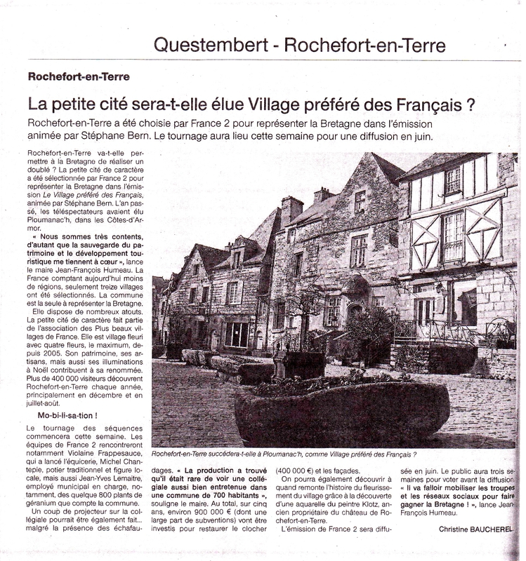 Article Ouest France 3 Mai 2016