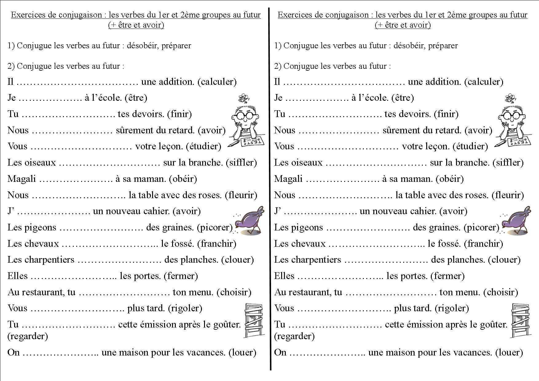Conj 12 Ce2 Les Verbes Du 1er Et 2eme Groupes Au Futur La Classe Des Ce De Villebois